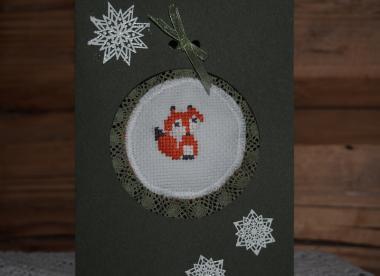 izšūts rotājums, kartiņa, Ziemassvētku rotājums
